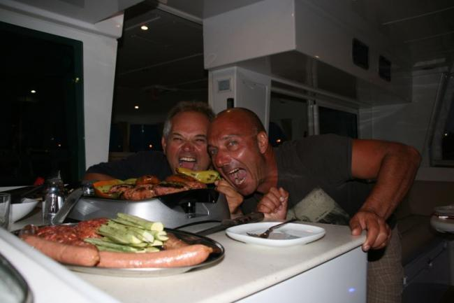 BBQ time on catamaran!