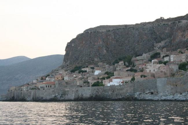 The Byzantine fortress town of Monemvasia